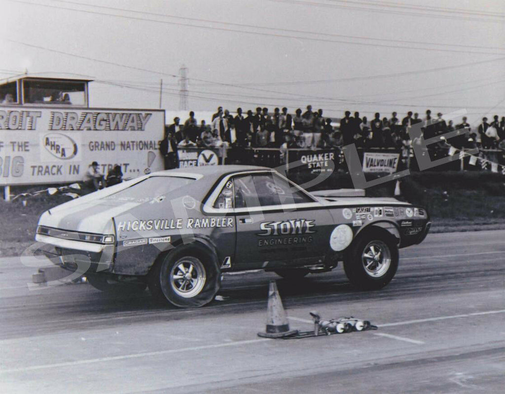 "8 x 10"" Stowe Hicksville Rambler Racing at Detroit Dragway Made from Negative"