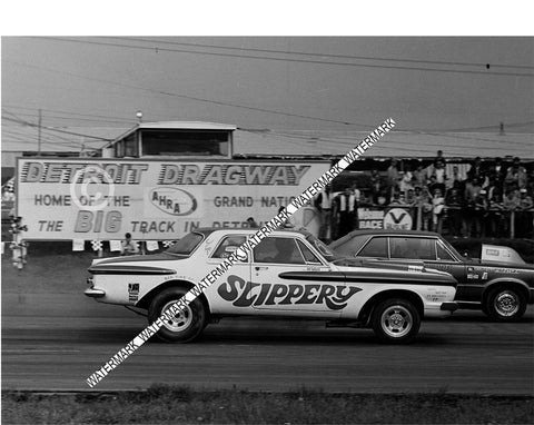 "8 x 10"" Photo Of the 62 Plymouth ""Slippery"" Racing at Detroit Dragway"