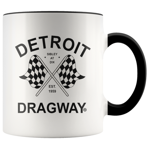 Detroit Dragway® Checkered Flags Accent Mug