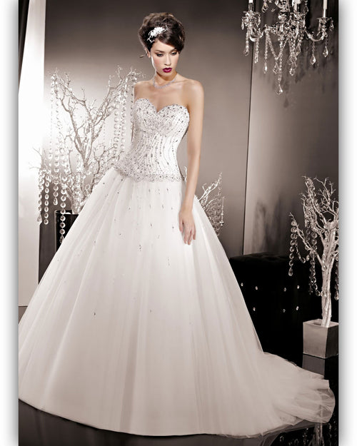 Robe de Mariée Kelly Star Princesse Tulle Droit Strass