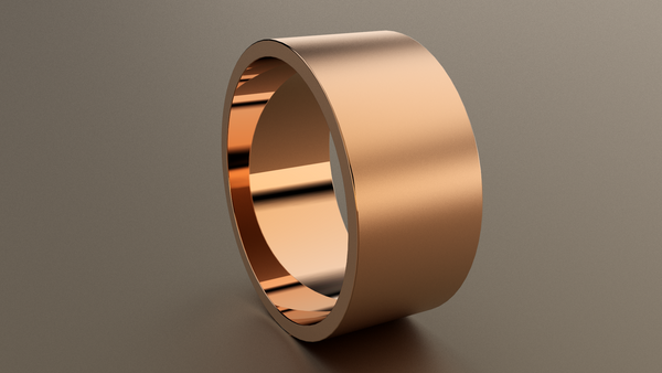 Brushed Rose Gold 10mm Flat Wedding Band