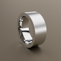 Brushed 18kt White Gold 10mm wide and 3mm Thick Flat Wedding Band