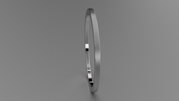 Brushed Sterling Silver 1mm Flat Wedding Band