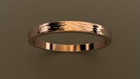 Hammered Rose Gold 2mm Flat Wedding Band