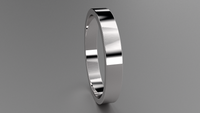 Polished Sterling Silver 3mm Flat Wedding Band