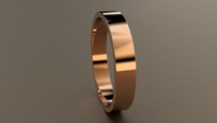 Polished Rose Gold 4mm Flat Wedding Band