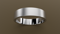 Brushed White Gold 5mm Flat Wedding Band
