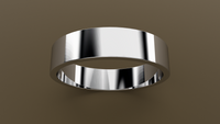 Polished White Gold 5mm Flat Wedding Band