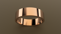 Polished Rose Gold 6mm Flat Wedding Band