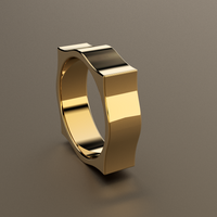 Polished Yellow Gold 6mm Pointed Square Wedding Band