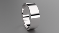 Polished Sterling Silver 7mm Flat Wedding Band
