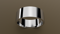 Polished White Gold 8mm Flat Wedding Band