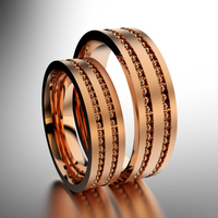 Set of Brushed Rose Gold 6mm and 5mm Double Bead Row Wedding Bands
