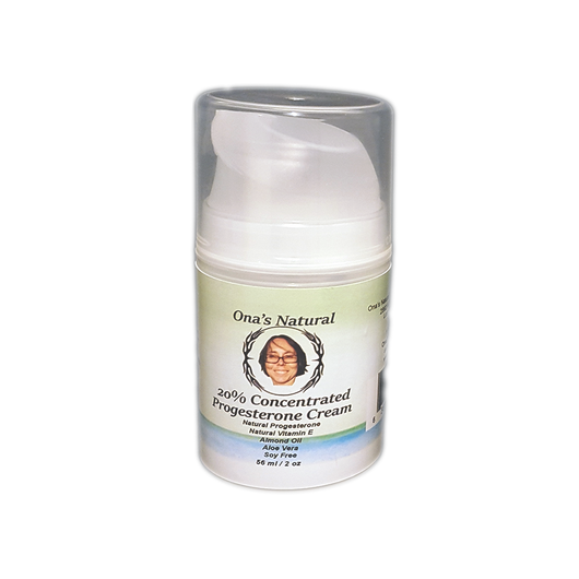 Ona's Natural Progesterone 20% Cream - 2 oz Pump -Almond Oil Base