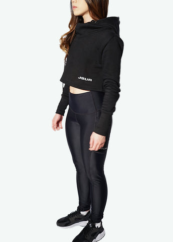 Women's Assassin Cropped Hoodie (Black) - JSUR