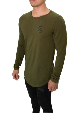 JSUR LONG SLEEVE SCOOP SHIRT (OLIVE GREEN)