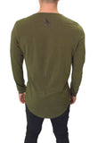 JSUR LONG SLEEVE SCOOP SHIRT (OLIVE GREEN) - JSUR