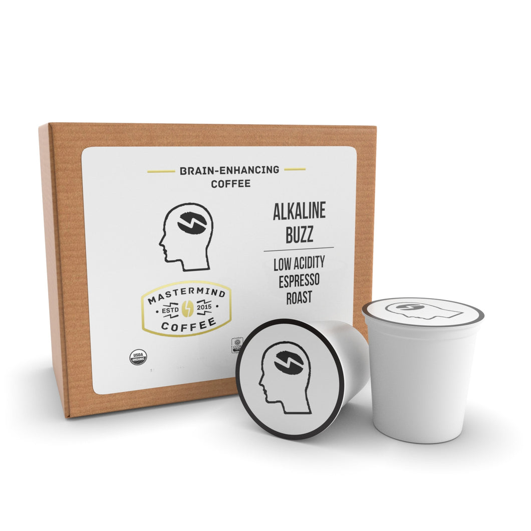 Alkaline Buzz Single Serve Cups - Brain Enhancing Espresso Roast - Organic Low Acidity Coffee - Heightens Mental Acuity, Improves Memory & Focus - Impossibly Delicious! - 12 Count