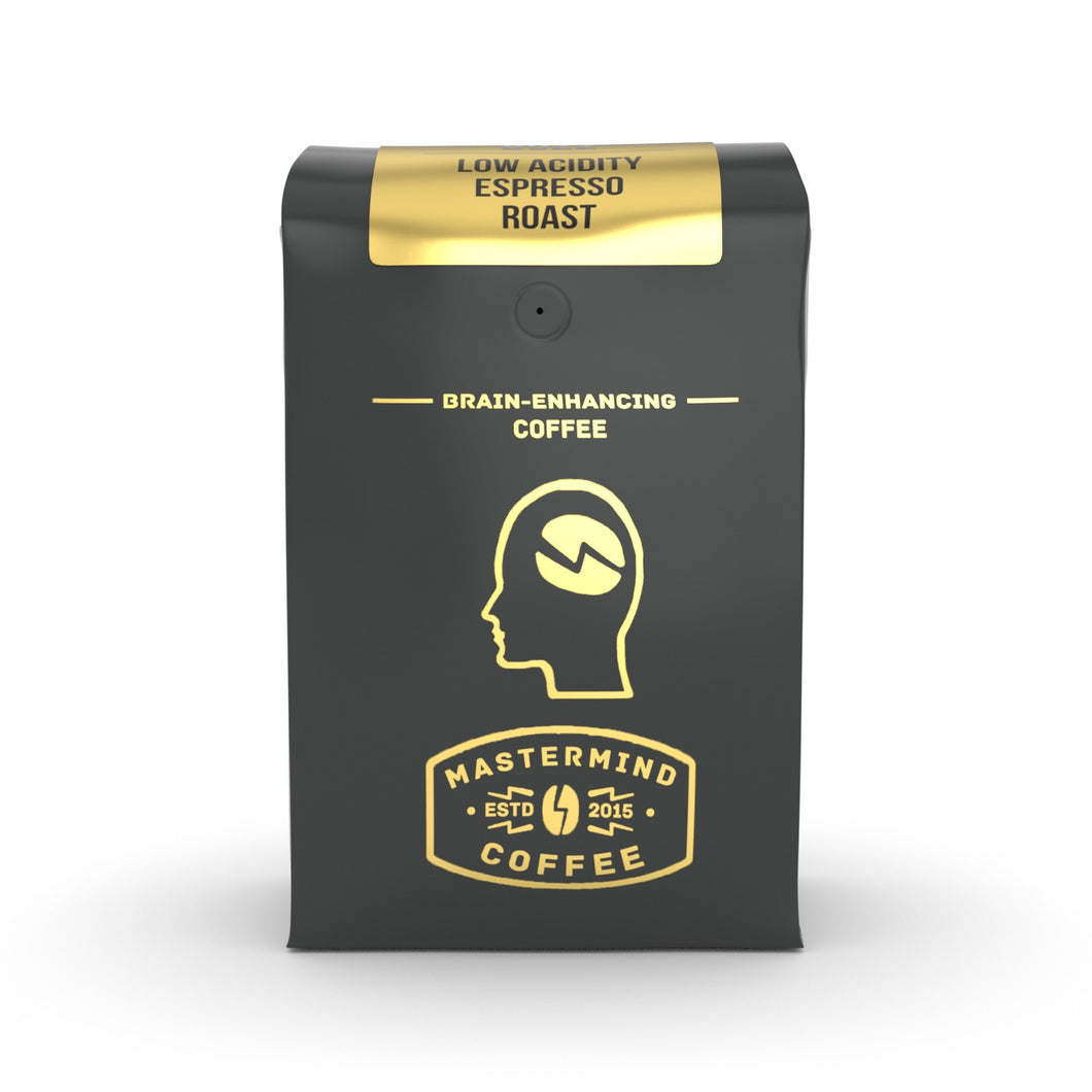 Alkaline Buzz - Brain Enhancing Espresso Roast - 100% Organic Low Acidity Coffee - Heightens Mental Acuity, Improves Memory & Focus - Impossibly Delicious!