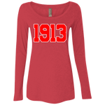 Greek Year 1913 Red Ladies' Triblend LS Scoop