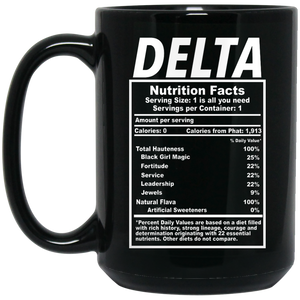 Delta Nutrition 15 oz. Black Mug