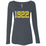 Greek Year 1922 Ladies' Triblend LS Scoop