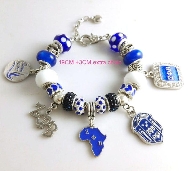 2015 Newest  ZETA PHI BETA  Sorority  Bracelet ZPB charm bead  bracelet bangle