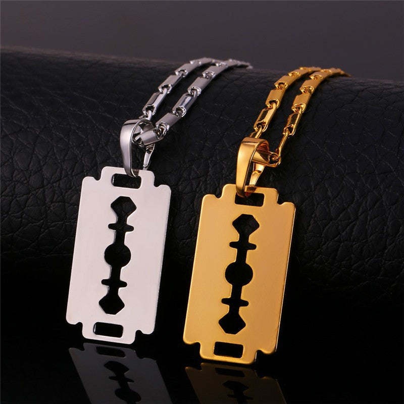 Razor Blade Necklace Silver/Gold/Black