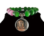 AKA  Sorority Natural Stone Sliver Charm AKA and AKA Legacy Bracelet