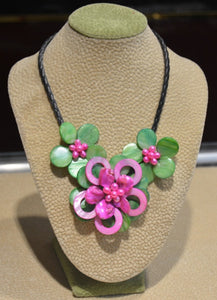 Hot Pink and Green Shell Flower Necklace