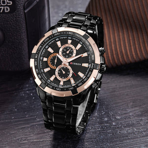 Mens Luxury Gold Black Military Sport Watch- Multiple Color Faces Available.