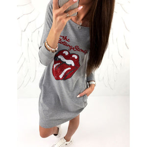 Stones Lips Printed Dress 2018 Women Autumn Casual Dress Long Sleeve