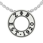 ZETA Round EST 1920 Pendant Necklace With CZ Stones