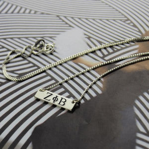 Zeta Phi Beta Sterling Silver Bar Necklace