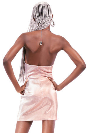 Asymmetrical Crystal Halter Dress