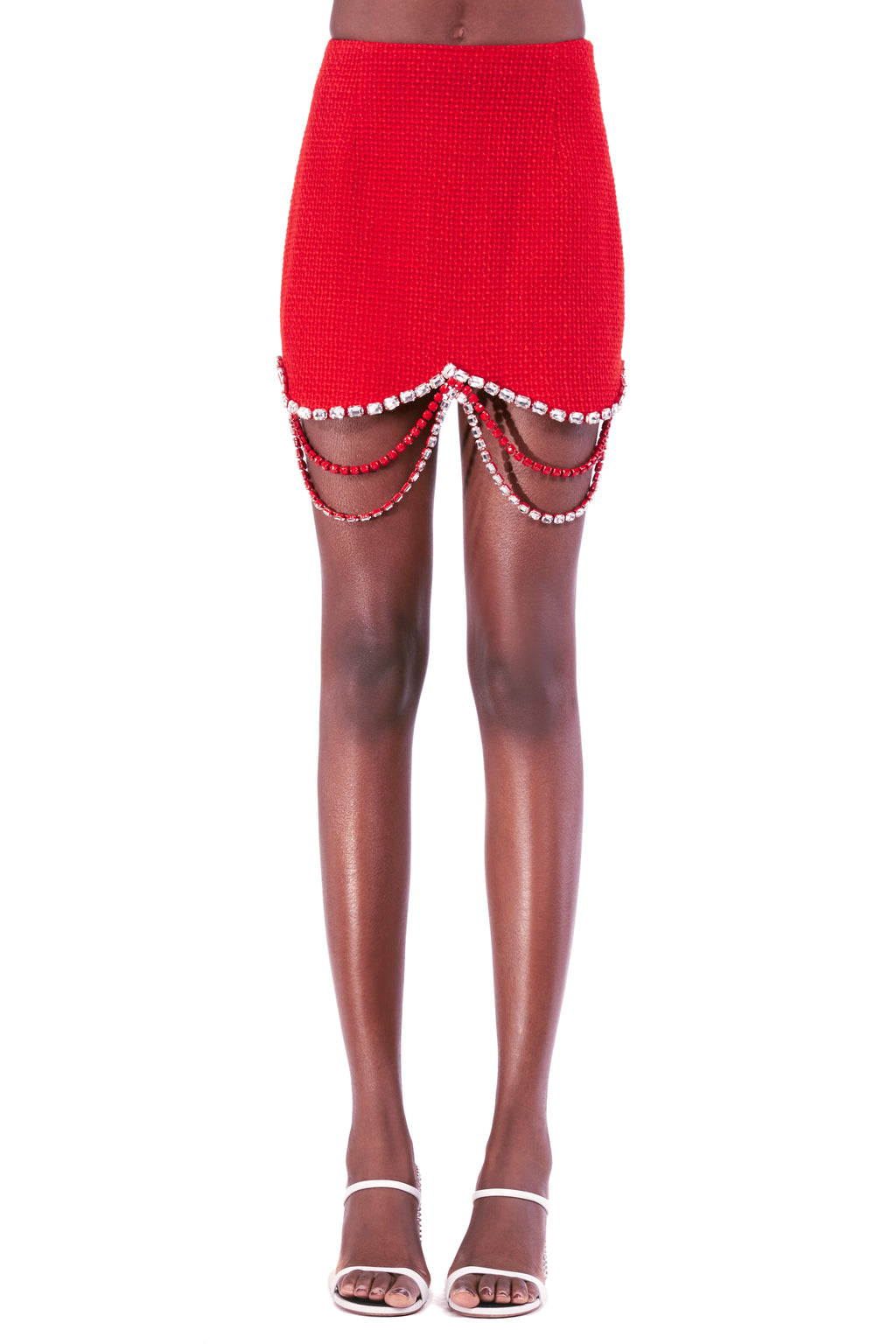 Draped Crystal Scallop Mini Skirt