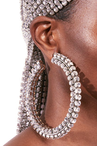 Stacked Crystal Round Hoop 4""