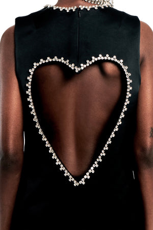 Crystal Heart Open Back Mini Dress
