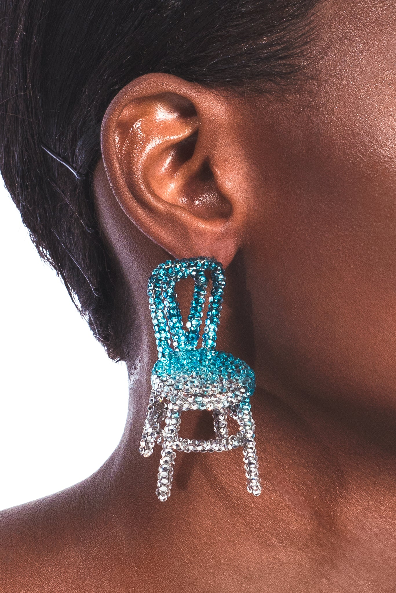 Single Ombre Crystal Chair Earring