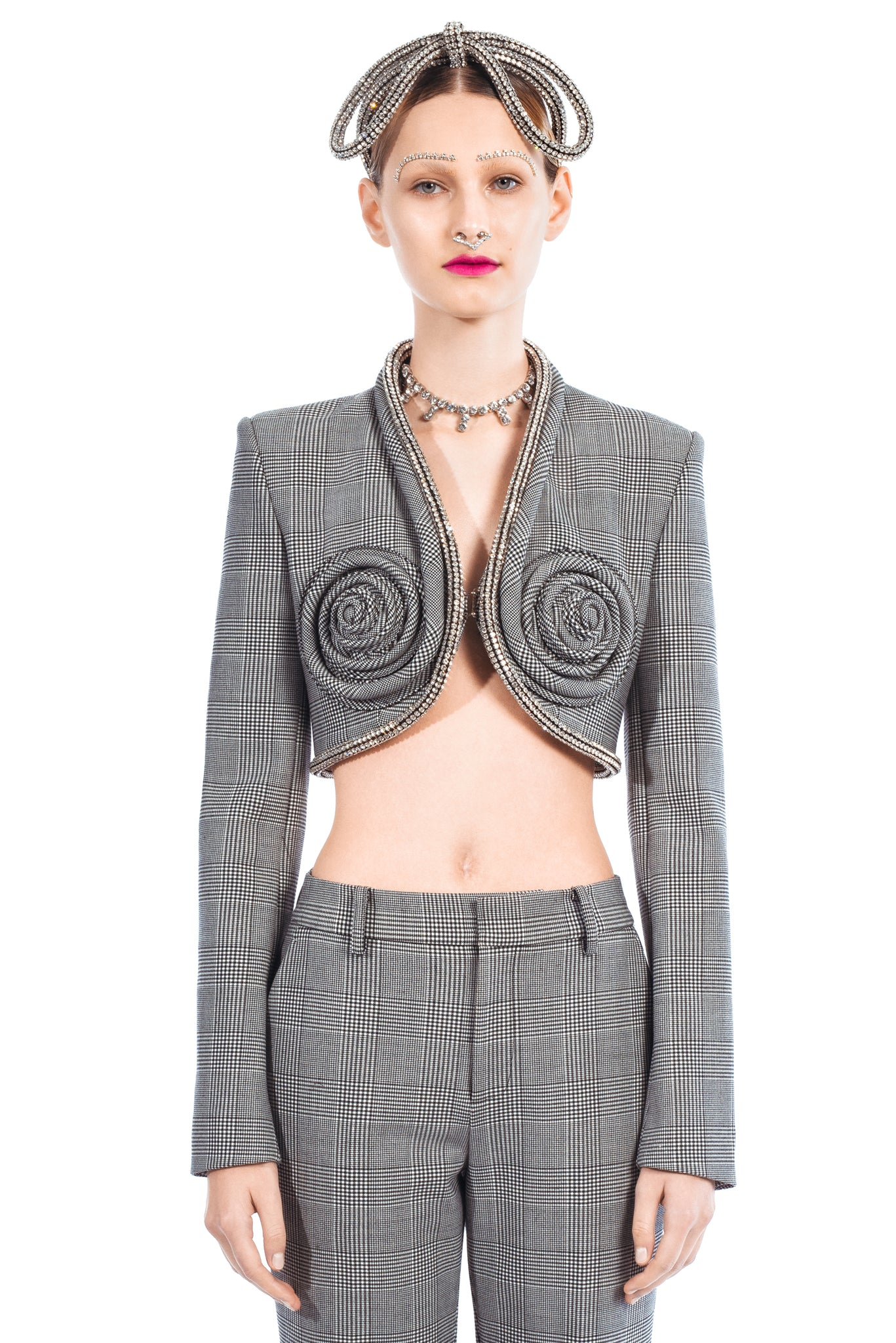 Spiral Crystal Cup Cropped Blazer