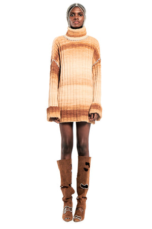Oversized Knit Tunic With Crystal Stitch Trim
