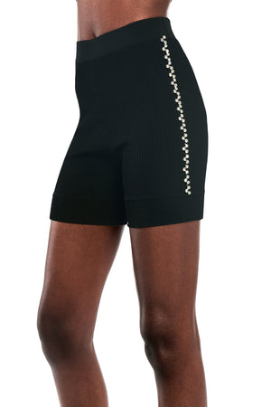 Knit Bike Short with Crystal Trim