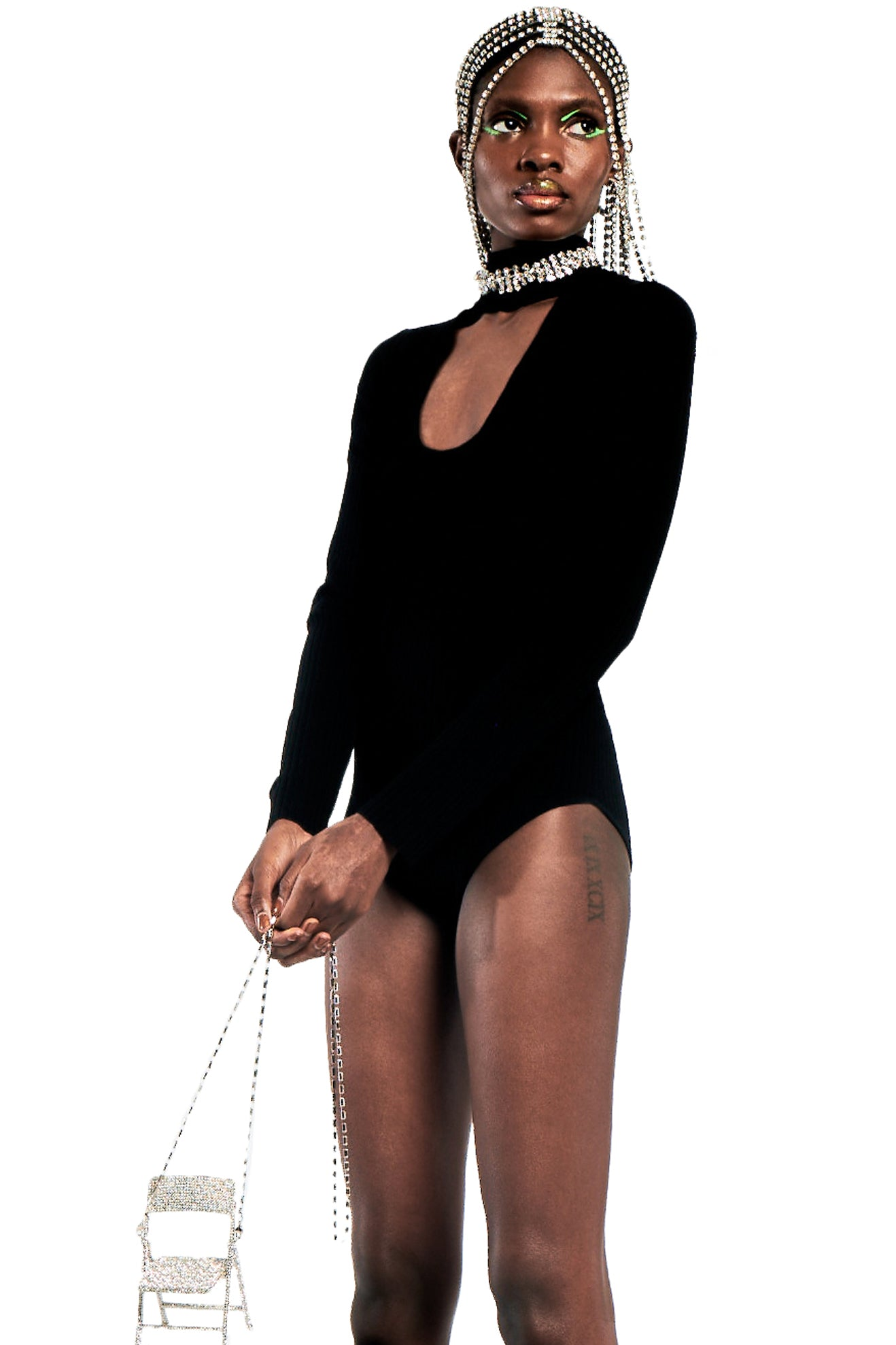 Knit Bodysuit with Braided Crystal Neckline