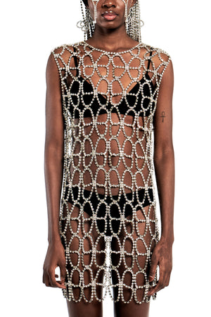 Crystal Butterfly Net Dress