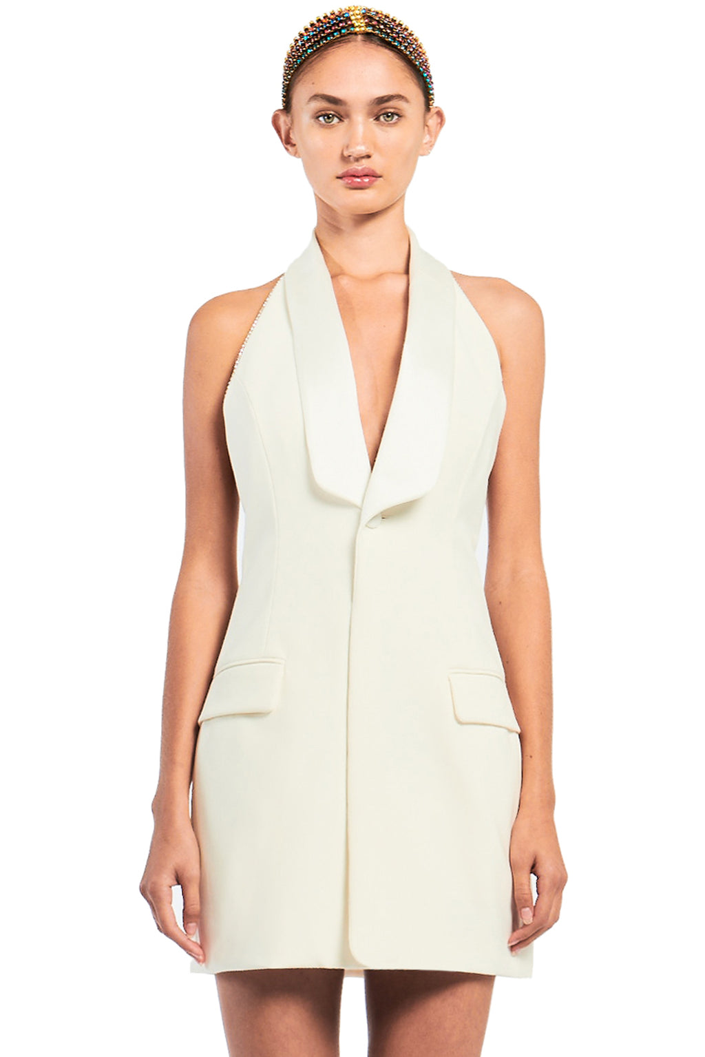 Satin Lapel Gilet Dress