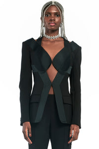 Crystal Trim Open Back Blazer