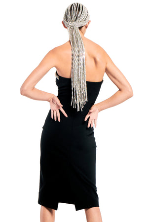 Fitted Tube Dress with Braided Crystal Trim