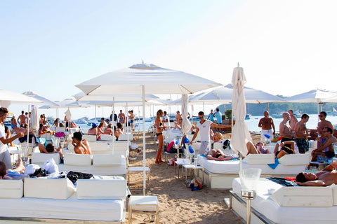 Make sure you are wearing your Nicolas Alexander beach shorts when visiting Blue Marlin Beach Club at Cala Jondal