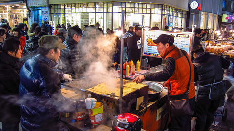 Myeong-Dong street food market in Seoul