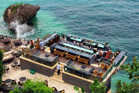 Take in the magnificent view from Rock Bar Bali positioned directly above Jimbaran Bay